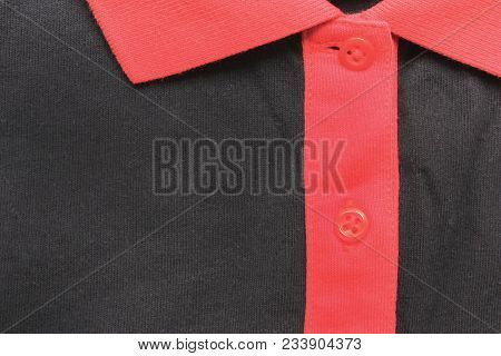 Black Shirt With Buttons And Red Collar Neck Close Up View. Natural Cotton Material T-shirt, Close U