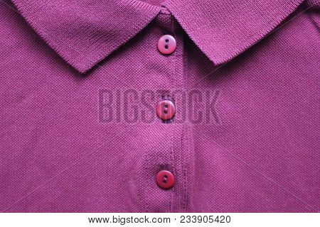 Purple Casual Polo T-shirt With Collar Neck. Buttoned Up Stylish Clothing Design Of Simple Vibrant C