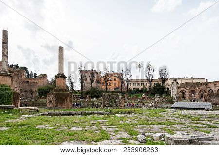 Rome, Italy, March 07, 2018: Horizontal Picture Of Ancient Building From Roman Empire In Rome, Italy