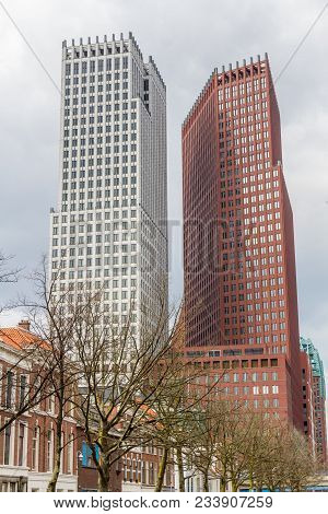The Hague, The Netherlands - March 31, 2018: Modern City Skyline Architecture Of The Hague