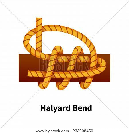 Halyard Bend Sea Knot. Bright Colorful How-to Guide Isolated On White