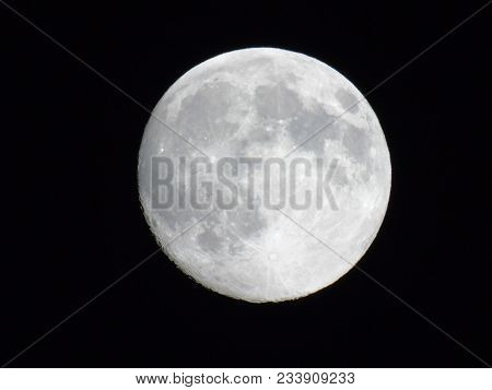 Amazing Full Moon Over The City Of Genova In Winter Days