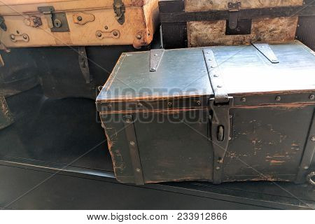 Vintage travelers flat-top steamer trunk dating back to 1900s poster