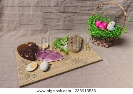 Smoked Ham, Eggs And Bread On Wooden Board With Spices. Top View.