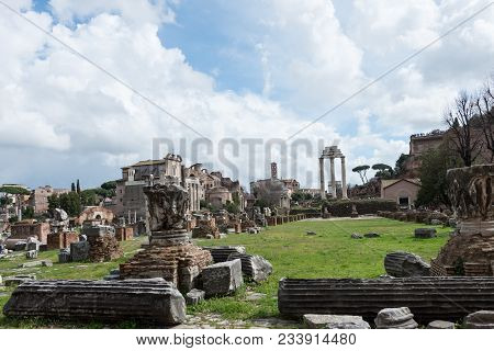 Horizontal Picture Of Destroyed Columns Of The Ancient Building From Roman Empire In Rome, Italy