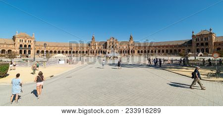 A Shot Of A Busy Summer Day In Plaza De Espana In Seville, Spain