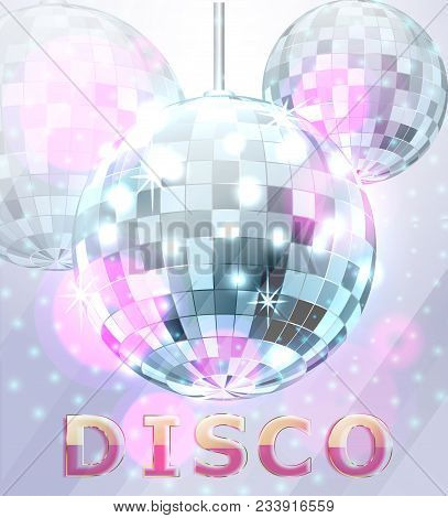Poster With Blue Mirror Disco Ball. Disco Background. Vector Illustration.
