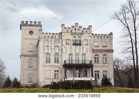Facade of old palace in Sady Dolne, Poland