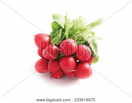A Bunch Colorful Delicious Radishes On White Background. Photo Depicting Fresh Radish With Green Lea