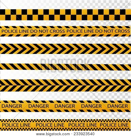 Black And Yellow Police Stripe Border, Construction, Danger Caution Seamless Tapes Vector Illustrati
