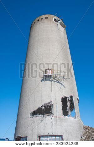 Preparation For A Demolition Of An Old Concrete Silo In Denmark