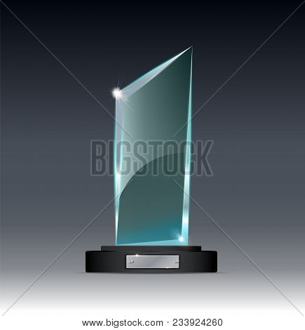 Glass Trophy Award Vector Illustration. Vector Illustration Of Shiny Award. Glossy Transparent Troph