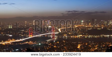 Bosphorus Bridge In Istanbul From Camlica Hill At Night Sunset