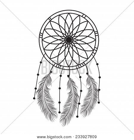 Dream Catcher Graphic In Black And White  Decorated With Feathers And Beads  Giving Its Owner Good D
