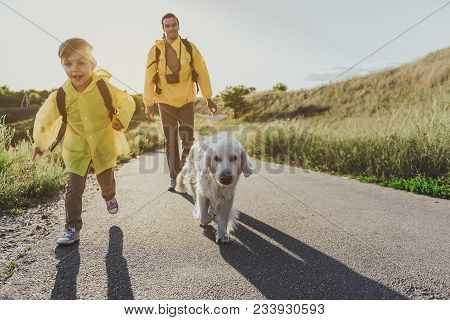 Young Cheerful Boy With Rucksack Running Along Sunlit Rode With His Dog. His Father Walking On Backg