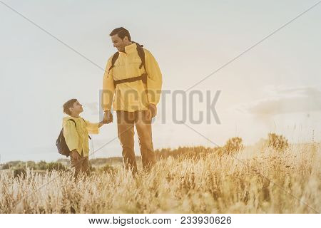 Glad Male And Boy With Backpacks Standing On Sunlit Field And Holding Hands, They Are Looking At Eac