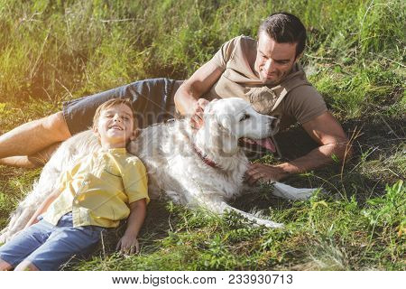 Jolly Male And Boy Are Lying On Sunlit Grassland With White Dog, Happy Kid Is Leaning Against The An