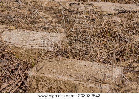 Concrete Blocks Of Building Foundation In Tall Dry Grass Of Old Riverbed.
