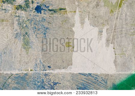 Blue, White Paint On Grunge Wall. Abstract, Textures, Background. Close Up Of Peeled, Weathered Surf