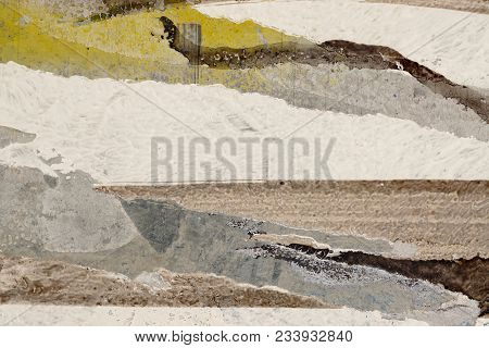 White, Brown, Ocher, Grey, Beige Paint On Grunge Wall. Multicolored, Abstract, Textures, Background.