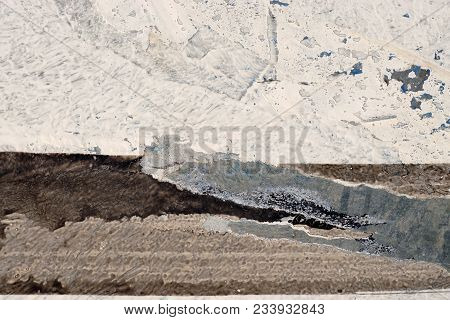 White, Brown, Grey, Beige Paint On Grunge Wall. Multicolored, Abstract, Textures, Background. Close