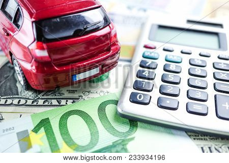 Car Model And Us Banknotes, Coin And Clock : Car Loan, Finance, Saving Money, Insurance And Leasing