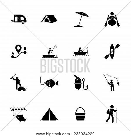 Camping Icon Set. Can Be Used For Topics Like Outdoor Activity, Pursuit, Active Leisure, Fishing