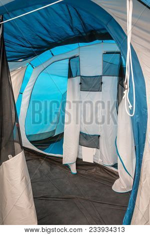Inside Camping Tent In Blue And White Color Scheme. Camping Tent Interior Design.
