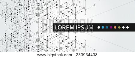 Geometric Hexagon Connect With Connected Line And Dots. Simple Technology Graphic Background. Vector