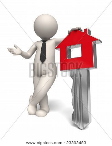 Home Key - House - 3D Business Man