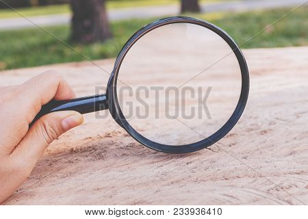 Picture Of A Single Magnifier With Black Handle Focus On Magnifier