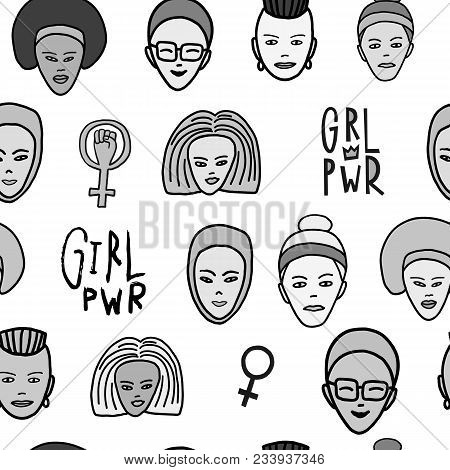 Girl Power Woman Face Feminist Seamless Pattern. Hand Drawn People Of Color Religion Inspiration Gra