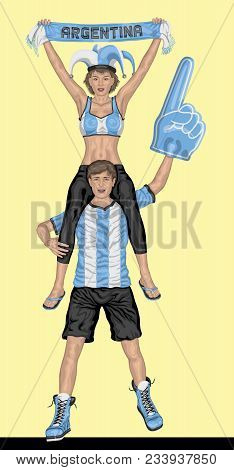 Argentinian Fans Supporting Argentina Team With Scarf And Foam Finger. All The Objects Are In Differ