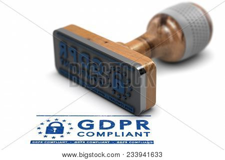 Eu General Data Protection Regulation Compliance. Rubber Stamp With The Text Gdpr Compliant Over Whi