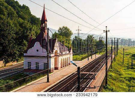 Old Railway Station At Sunrise. Beautiful Scenery In Mountains. Location Karpaty, Transcarpathia, Uk