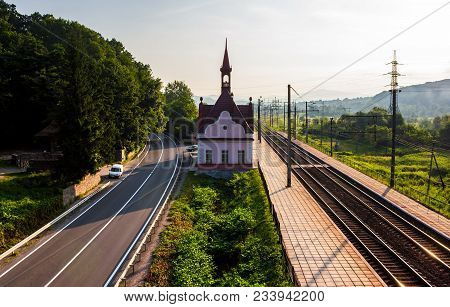 Old Railway Station At Sunrise. Beautiful Scenery In Mountains. Location Karpaty, Transcarpathia, Uk