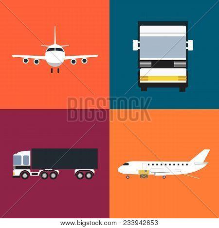 Commercial Cargo Transportation Icons Set Isolated Illustration. Loading Cargo Jet Plane And Freight