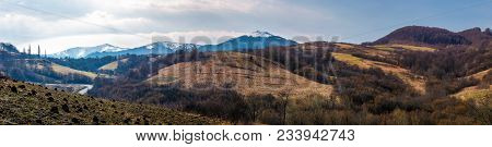 Panorama Of Mountainous Area Of Carpathians. Lovely Springtime Landscape Located Near The Volovets T