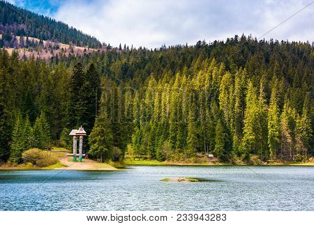 Synevyr Lake Among The Forest In Beautiful Light. Gorgeous Springtime Scenery In Carpathian Mountain