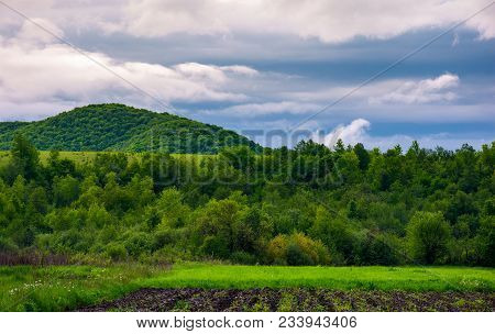 Rural Fields On A Cloudy Day. Lovely Springtime Scenery Of Mountainous Countryside