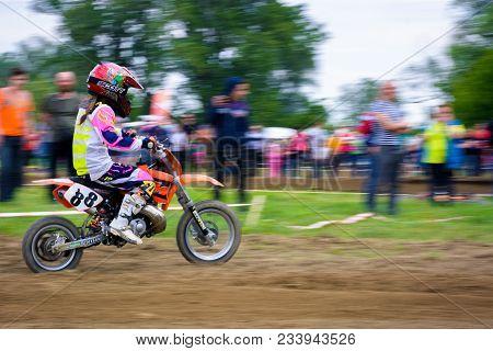 Uzhgorod, Ukraine - May 21, 2017: Extreme Enduro Moto Sport Junior Rider In The Action. Transcarpath