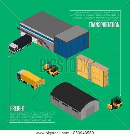 Freight Transportation Isometric Illustration. Forklift With Packing Boxes Loading Freight Truck Nea