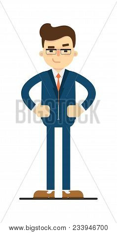 Interested Businessman With Hands On Waist Gesture Isolated On White Background Illustration. Smilin