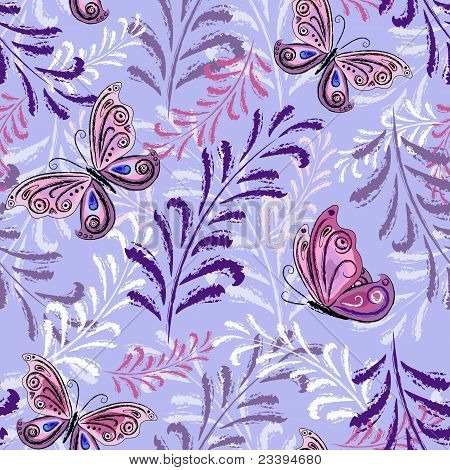 Gentle violet repeating floral pattern with pink-lilas leaves and butterflies (vector) poster