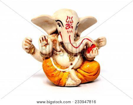 Closeup Isolated Ganesha Statue On White Background