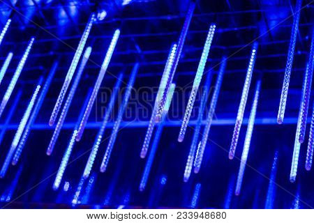 Neon Lamps Are Hanging From The Top, Plenty Of Bright Lights In The Night, Decorate The Place. Glowi