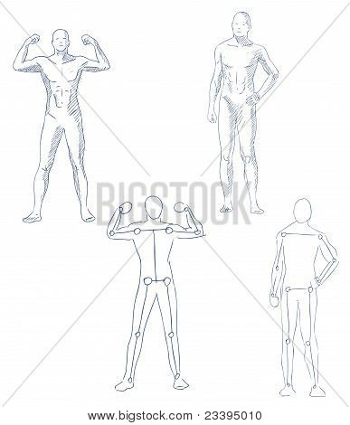 Human In Motion Artistic Sketch With Shading Vector poster