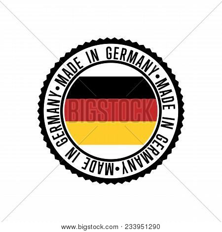 Made In Germany Round Rubber Stamp For Products Illustration Isolated On White Background. Exporting
