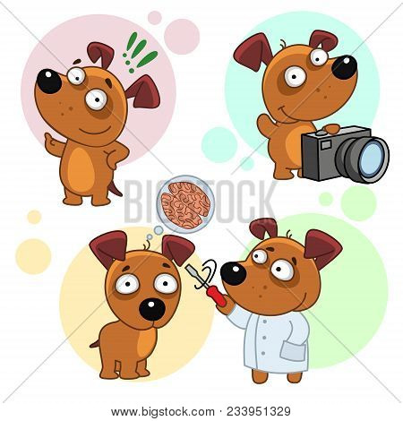 Sixteenth Set Of Icons With Dogs, Dog Photographer With Camera, With Exclamation Point, Dog Doctor A