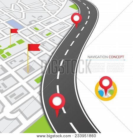 Navigation concept with pin pointer illustration. Cartography mapping, ui pinning, discovery, geotag, tourism geolocation. GPS navigation system banner. Location pin on perspective city map. poster